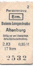 Edmondsonsche Fahrkarte Beiern